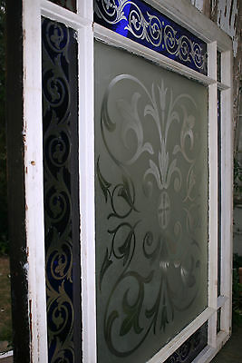 c1850 two glass window, cut glass to clear ruby, cobalt, clear, heart, tulip, 7' 3