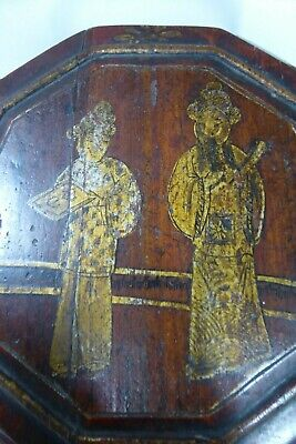 Chinese Lacquered Wooden Carry Basket Hand Painted Gilt 4