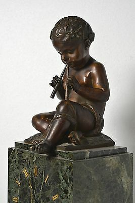 Antique 19th century French Figural Bronze & Marble Clock : Putto with Pipes 8