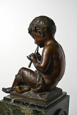 Antique 19th century French Figural Bronze & Marble Clock : Putto with Pipes 9