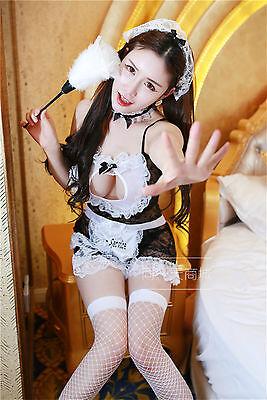 Set Costume Completino Cameriera Maid Serva Vestito Room Service Cosplay Calze 4