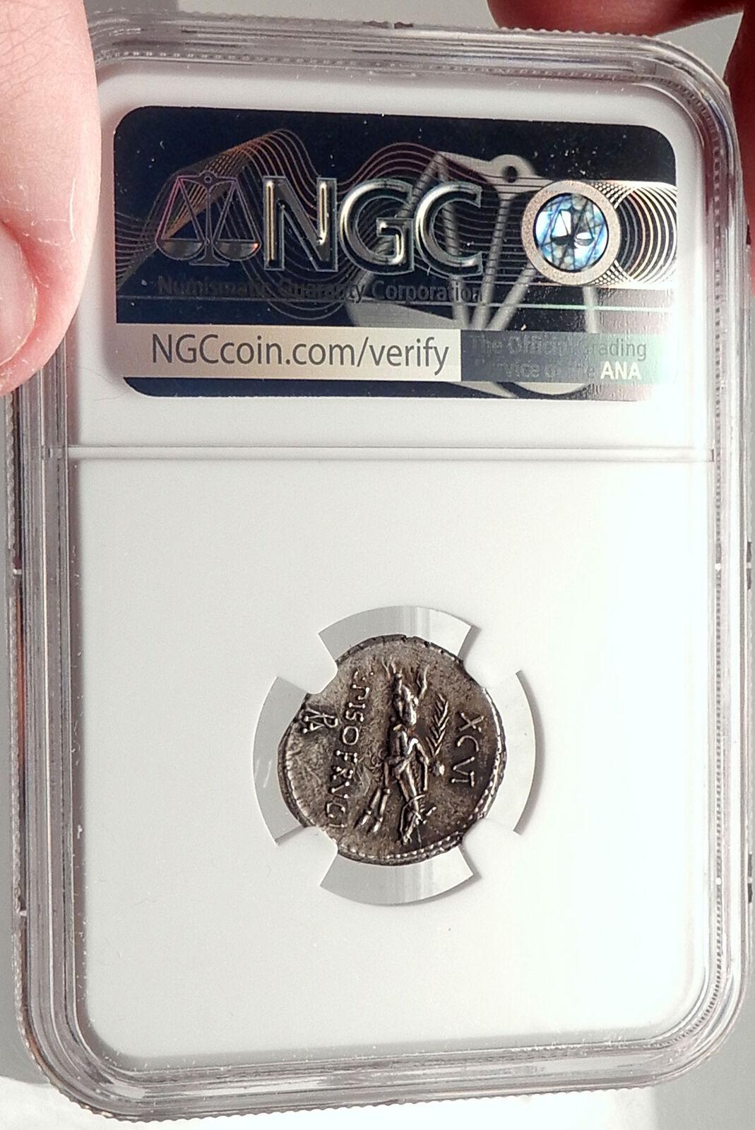 Roman Republic Rome 90BC Rome Apollo Horse Racing Ancient Silver Coin NGC i69804 4