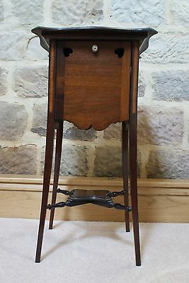 Antique Side Table Inlaid Mahogany Sweetheart Tapered Legs Fold Out Sides Rare 2