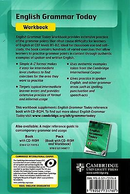 Cambridge ENGLISH GRAMMAR TODAY Self-study & Classroom WORKBOOK with Answers NEW 2