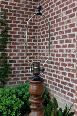 Antique English Oak REWIRED Barley Twist Floor Lamp End Table c. 1930s #3 6