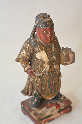 Chinese Polychrome Wood Carved Gift Bearer 3