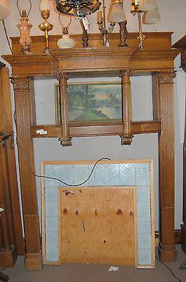 Antique Quarter Sawn Oak Fireplace Mantel  Columns Detailed Carvings House Salva 6