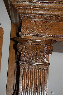 Antique Quarter Sawn Oak Fireplace Mantel  Columns Detailed Carvings House Salva 3