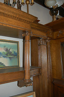 Antique Quarter Sawn Oak Fireplace Mantel  Columns Detailed Carvings 4