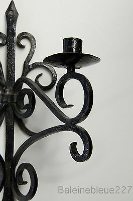 Old French Provence Wrought Iron Gothic Medieval Sconce Castle Candleholder 2