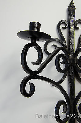 Old French Provence Wrought Iron Gothic Medieval Sconce Castle Candleholder 4