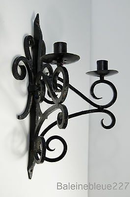 Old French Provence Wrought Iron Gothic Medieval Sconce Castle Candleholder 10