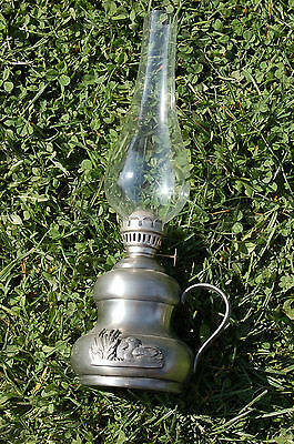 Lámpara Petróleo Antigua ,95% d'estaño ,pato en relieve C19 2
