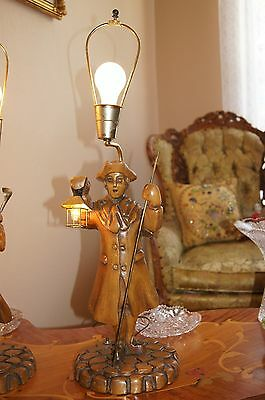 """2 Vtg Art Deco Era Wooden Table Lamps Chandeliers Fixtures   """" Light Keepers"""" 11"""