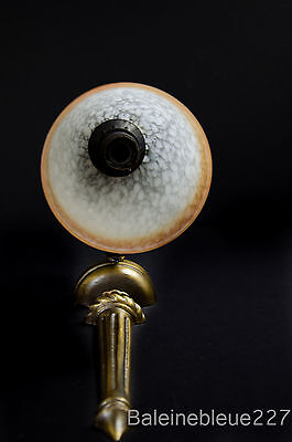 Vintage French Art Deco Brass Sconce With Pate De Verre Glass Shade 4