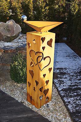 Säule Herz Liebe Edelrost  Rost Metall Gartendeko Stele Valentinstag neu