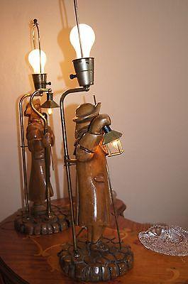 """2 Vtg Art Deco Era Wooden Table Lamps Chandeliers Fixtures   """" Light Keepers"""" 7"""