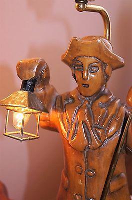 """2 Vtg Art Deco Era Wooden Table Lamps Chandeliers Fixtures   """" Light Keepers"""" 9"""