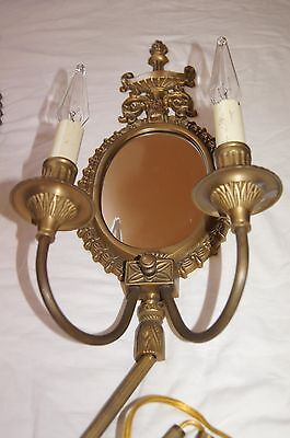 2 VTG VICTORIAN SHABBY CHIC BRASS MIRROR  SCONCES CHANDELIER WALL FIXTURE 1960's 9