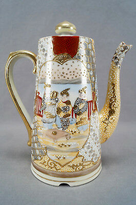 19th Century Kutani Hand Painted Japanese People & Heavy Moriage Coffee Pot 3