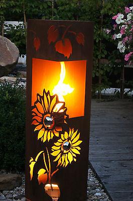 Feuer Säule Sonnenblume Edelrost  Rost Metall Windlicht Edelstahl - Kugel Fackel
