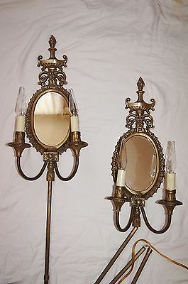 2 VTG VICTORIAN SHABBY CHIC BRASS MIRROR  SCONCES CHANDELIER WALL FIXTURE 1960's 5