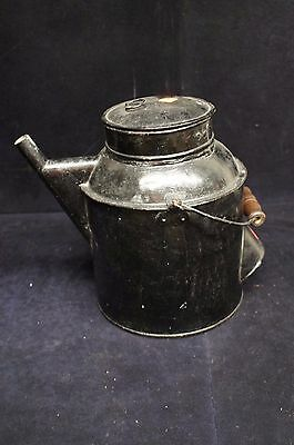 Primitive Antique Tin Watering Can Marked PS Garden Wood Handle Flower Toleware 4