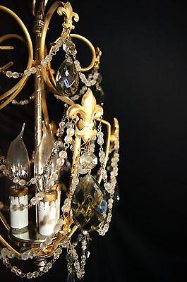 Vtg Deco Victorian Spain Boudoir Petite Brass Chandelier Fixture Smoked Crystals 2