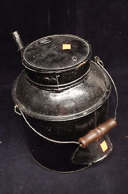 Primitive Antique Tin Watering Can Marked PS Garden Wood Handle Flower Toleware 11