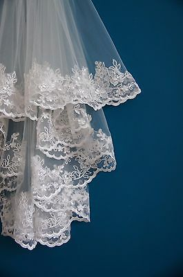 Wedding Veil *Fingertip Length*2 Tier*Wide Lace H* Ivory&off white* 6