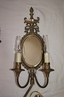 2 VTG VICTORIAN SHABBY CHIC BRASS MIRROR  SCONCES CHANDELIER WALL FIXTURE 1960's 12