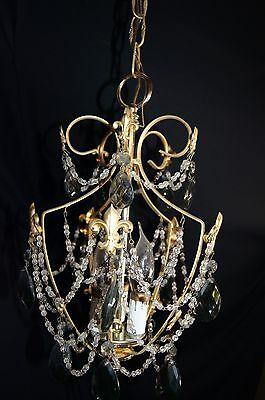 Vtg Deco Victorian Spain Boudoir Petite Brass Chandelier Fixture Smoked Crystals 5