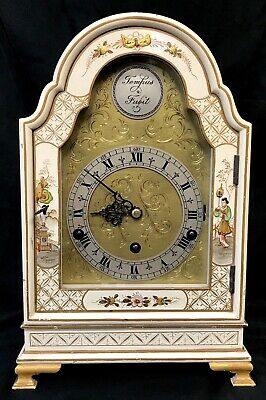 Stunning Antique Musical Cream Chinoiserie Three Train Clock Lacquered Oriental 3