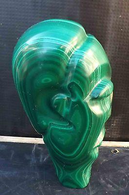 easter island head incarved malachite  stone 4