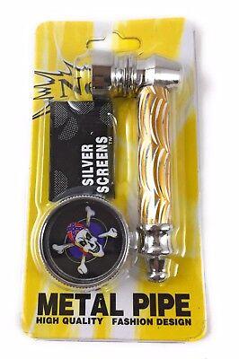 3 in 1: Metal Mini Grinder & Metal Smoking Pipe With 5 Screens