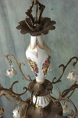 "Chandelier Working 6 Arm VTG 24"" x 19"" Porcelain 18 White Flowers, Beads, Brass 6"
