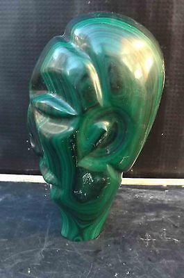 easter island head incarved malachite  stone 2