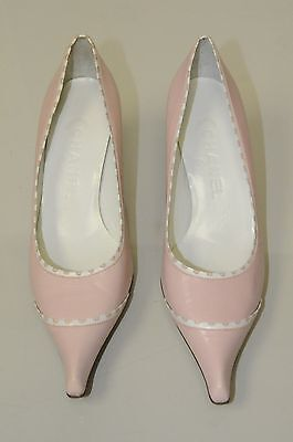 78465dc53f ... NEW CHANEL Pumps Leather Pale Pink White Kitten Heels CC Logo Shoes  38.5 39.5 4