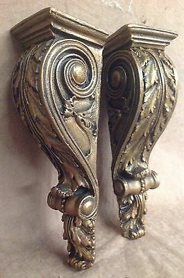 Shelf Acanthus leaf Wall Corbel Sconce Bracket Home Decor Pair Bronze Finish 5