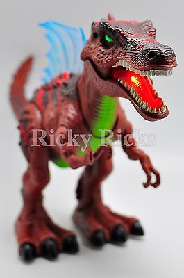 Walking Dinosaur Spinosaurus Light Up Kids Toy Figure Sounds Real Movement LED