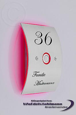 Edelstahl Look Design Doppel 2 Klingel inkl Gravur Klingelplatte inkl LED 13.003