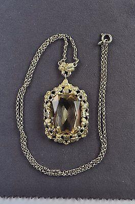 antiker großer Anhänger an Kette Silber 830 mit echtem Citrin. Art Deco um 1930 2