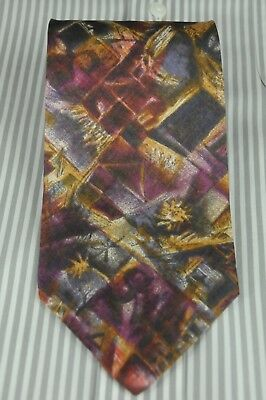 Hugo Boss Men's Tie Purple Gray Gold Floral Geometric Silk Necktie 57 x 3.5 in.