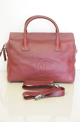 1fd1976008d244 ... New CHANEL Classic Large Zip Shopping Tote Burgundy Red Grainy Leather Bag  CC 2