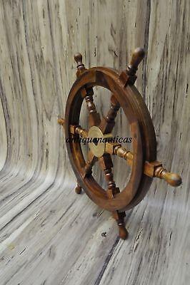 "18""Nautical Wooden Ship Steering Wheel Pirate Decor Wood Brass Fishing Wall Boat 4"
