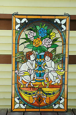 """20"""" x 34"""" Tiffany Style stained glass window panel Jeweled two angel 6"""