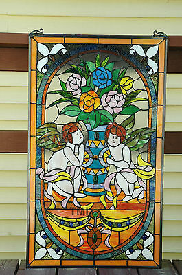 "20"" x 34""  two baby angel Tiffany Style stained glass Jeweled window panel 6"