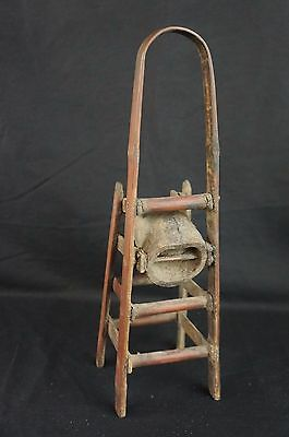 """Great antique Chinese carved wood chair-shaped brush holder 12"""" 3"""