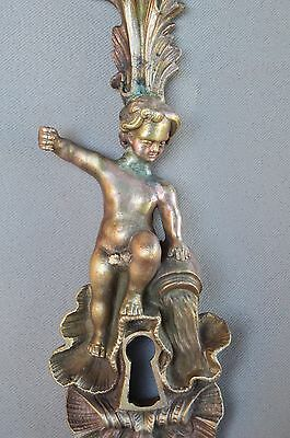 French Decor Bronze Putto Pouring Water Door Back Plates, Knob 18th.c 2