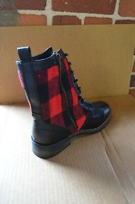 New Madden Girl Womens Miles Red Plaid Combat Boots